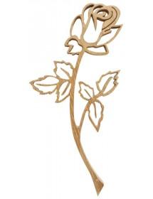 Emblème rose en bois